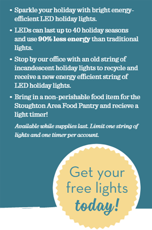 Bring in a strand of holiday lights to recycle and get a set of LED lights for free!  Donate a non-perishable food item to receive a free holiday light timer!